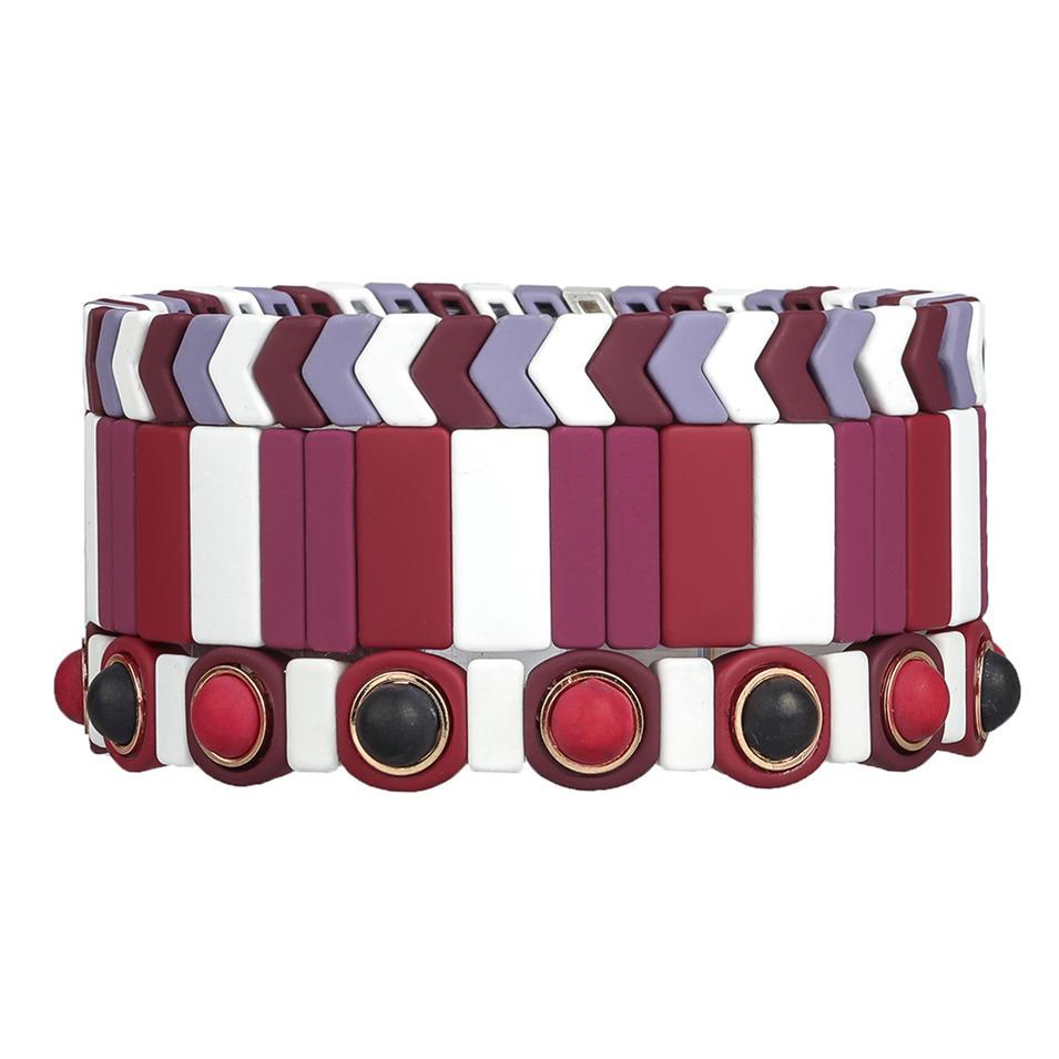 Bright Red Color Wholesale Women Jewelry Handmade 3Pcs Hematite Enamel Bracelet