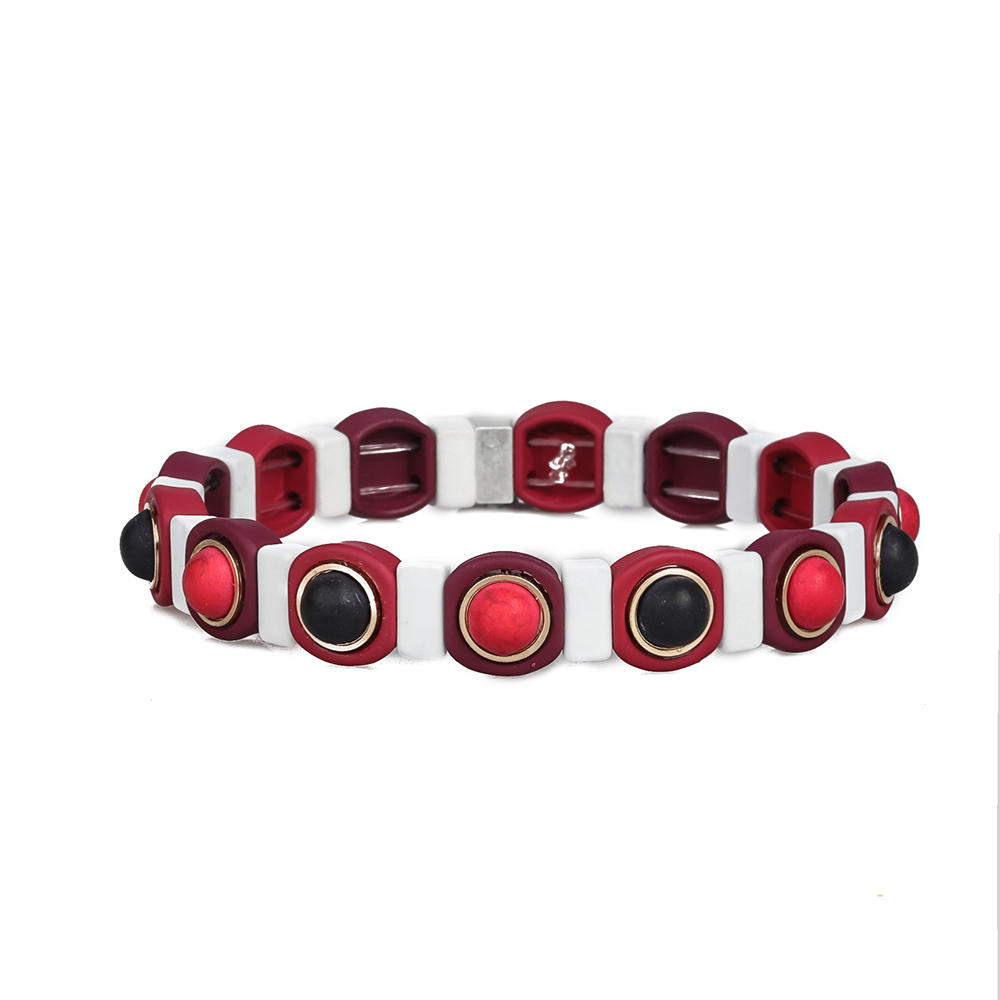 Bright Red Color Wholesale Women Jewelry Handmade 3Pcs Hematite Enamel Bracelet