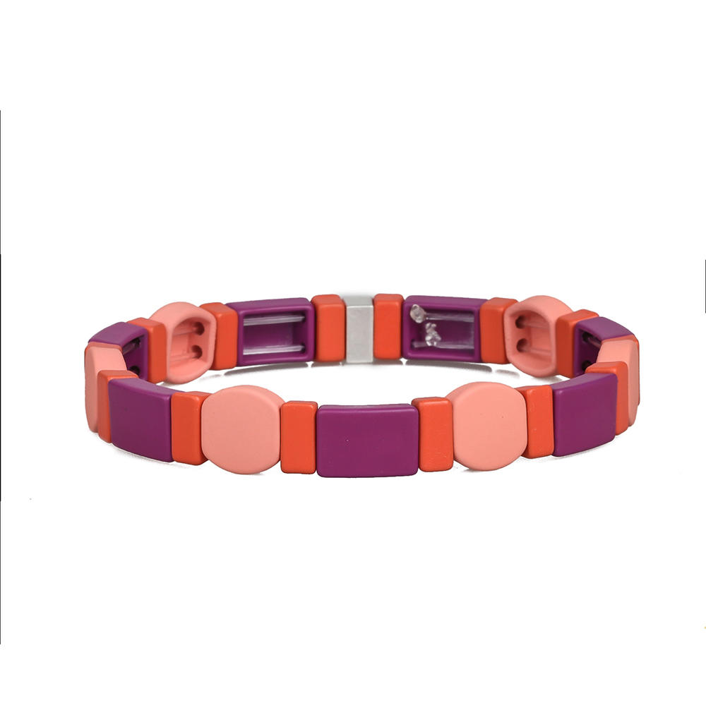 Red Pink Violet Color 3Pcs Fashion Wholesale Handmade Matte Enamele Bracelet Ladies Jewelry