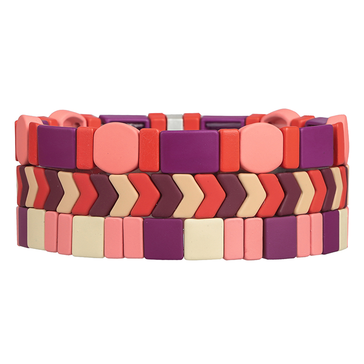 pink red violet beige and brown color round matte 3pcs enamel bracelet tile women jewelry