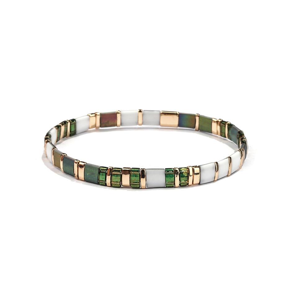 Green and Gold Color Translucent vogue Wholesale Handmade Miyuki Tila Bracelet Women Jewelry