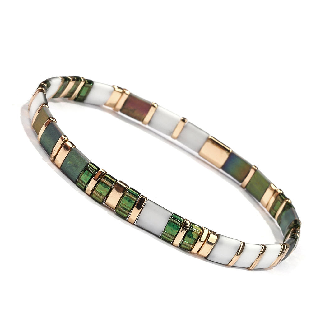 Green and Gold Color Translucent vogue Wholesale Handmade Miyuki Tila Bracelet Women Jewelry