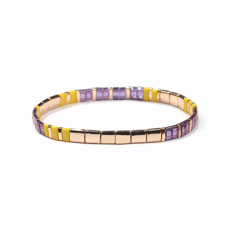 Top Quality Gold Purple and Yellow Color Translucent Handmade Tila Bracelet Wholesale Women Jewelry