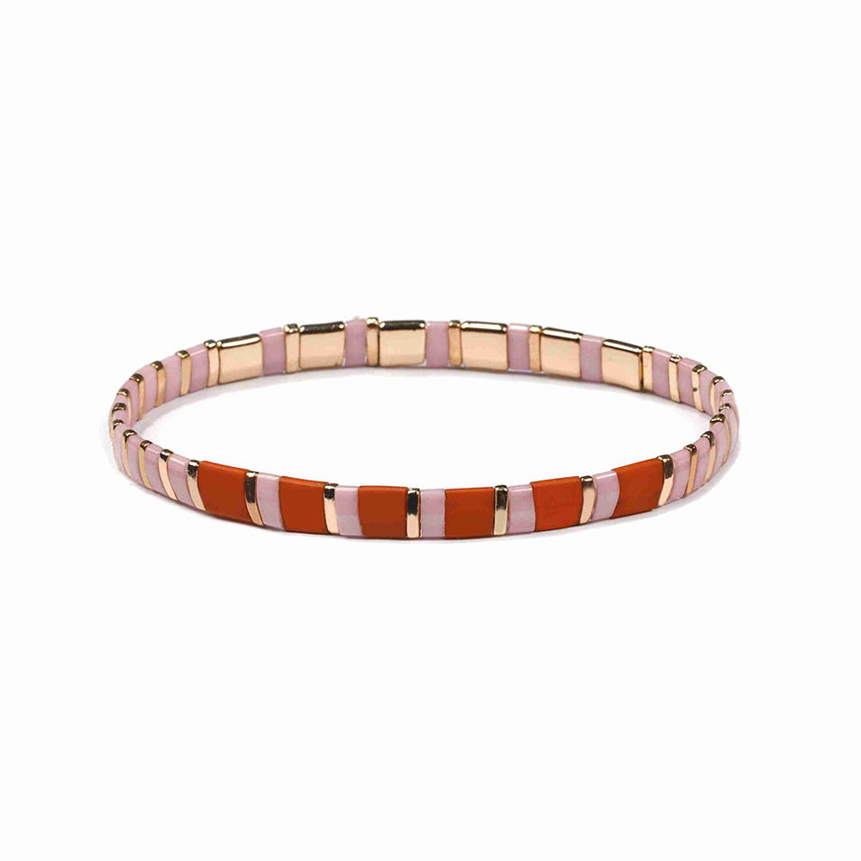 Cure Fresh Handmade Pink and Red Color Frosted Wholesale Miyuki Tila Bead Bracelet Ladies Women Jewelry