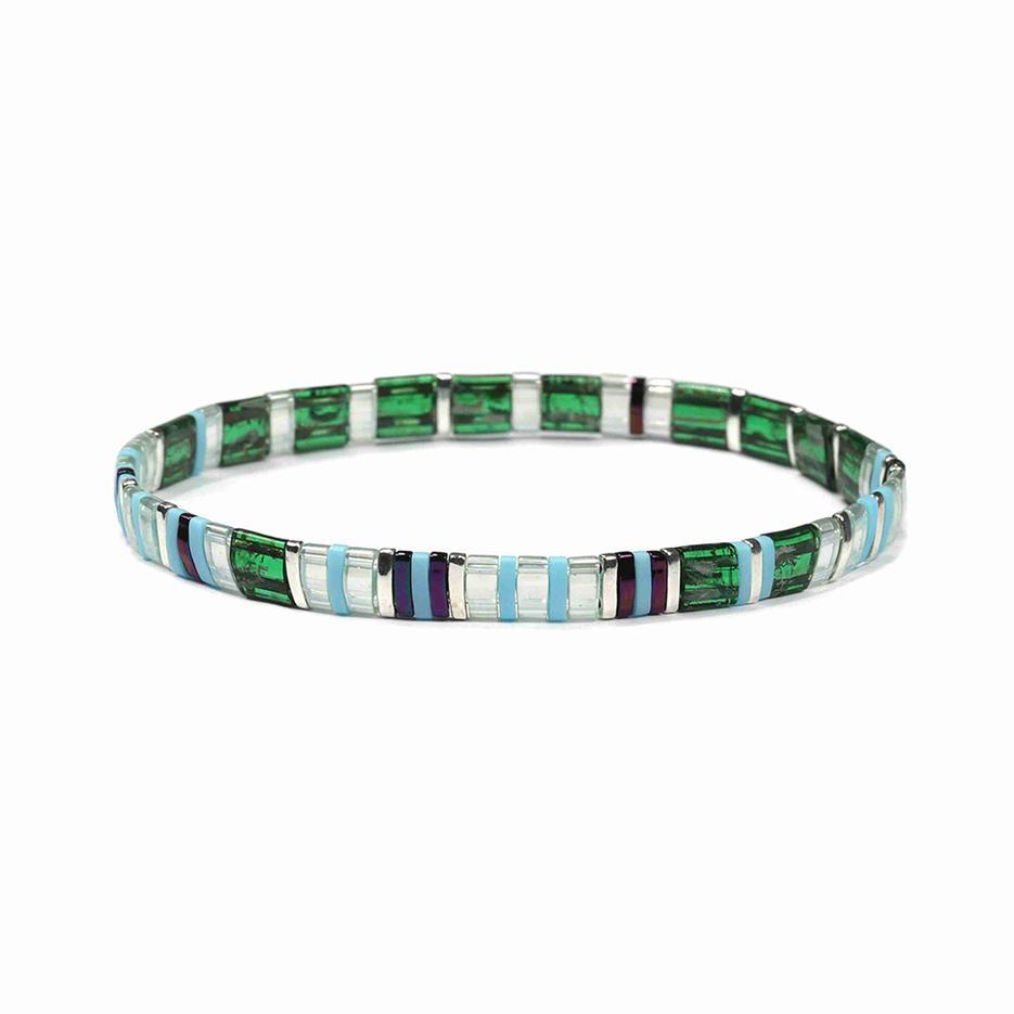 Personalized Friendship Fresh Green and White Translucent Wholesale Tila Bracelet Handmade Jewelry