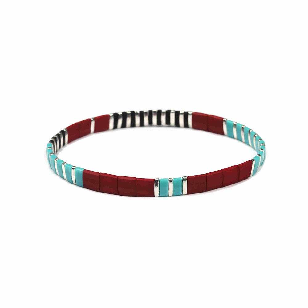 Wholesale Handmade Frosted Bright and Blue sky color Tila Bracelet Women Jewelry