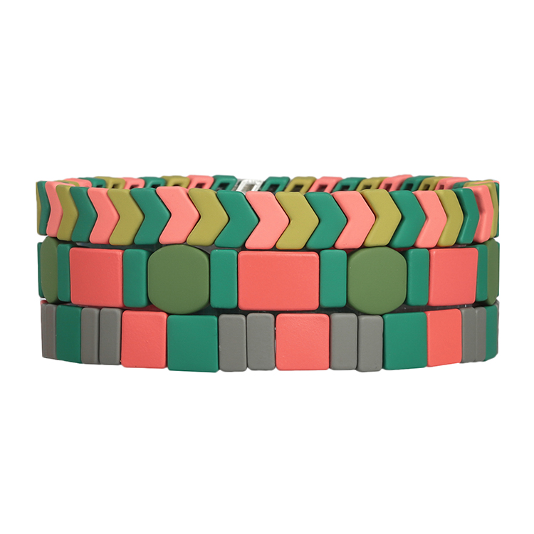 green pink color Round matte colorful tile enamel bracelet women jewelyr