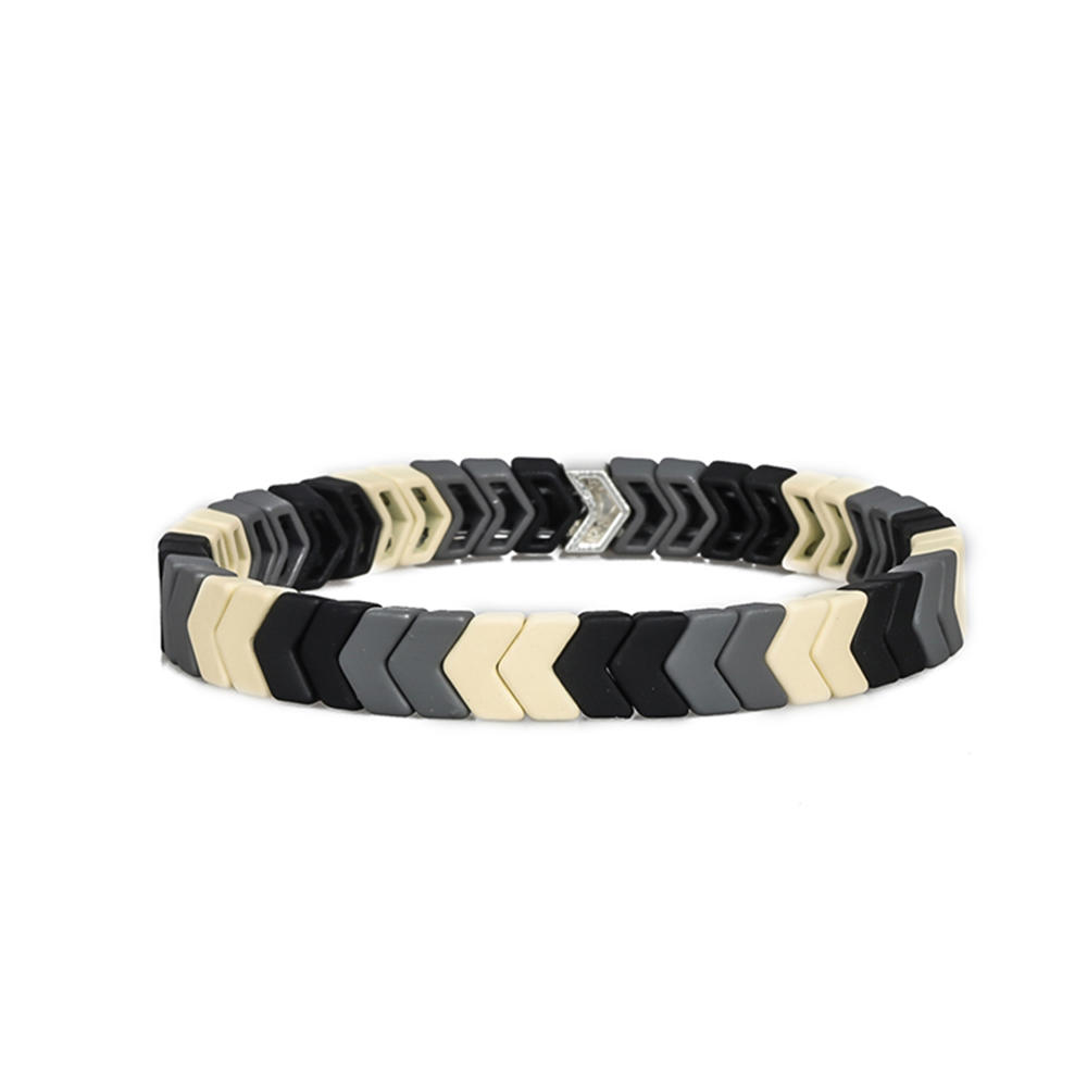 Simple Fashion Wholesale Women Jewelry 3Pcs Handmade Black Beige and White Color Matte Enamel Bracelet