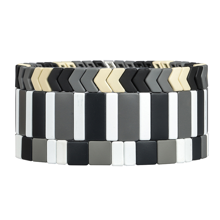 simple fashion black beige and white color tile enamel handmade bracelet women jewelry
