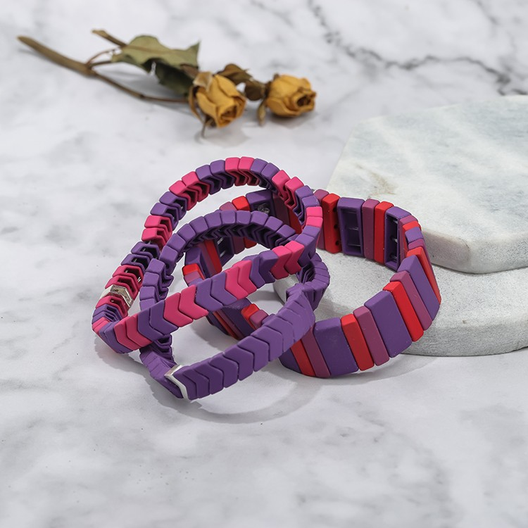 refined violet and light bright red color handmade matte tile enamel 3pcs bracelet