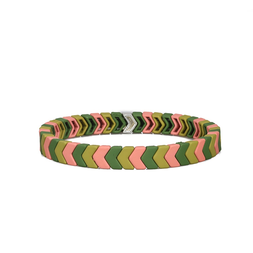 Colorful Rainbow New Design Handmade Wholesale Matte Enamel Bracelet Women Jewelry