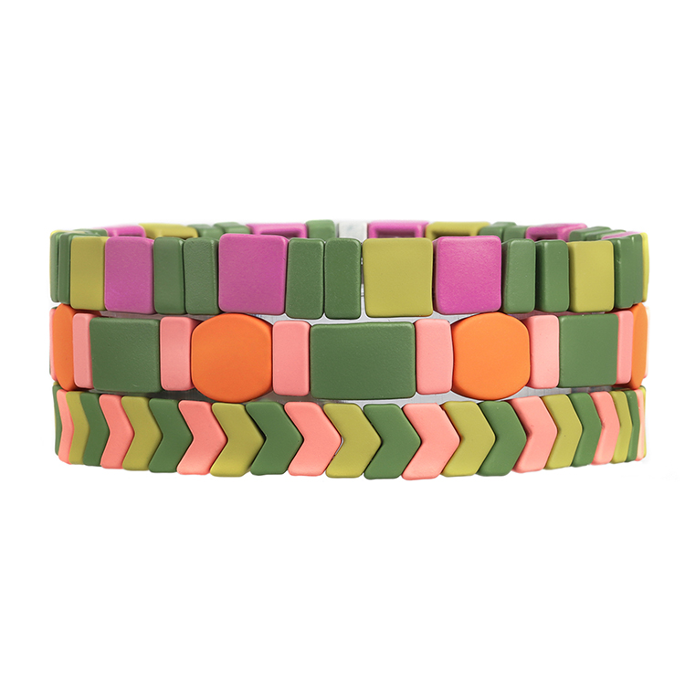 rainbow colorful fresh matte handmade tile enamel bracelet
