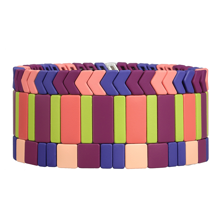 navy pink purple color matte handmade tile enamel wholesale women jewelry