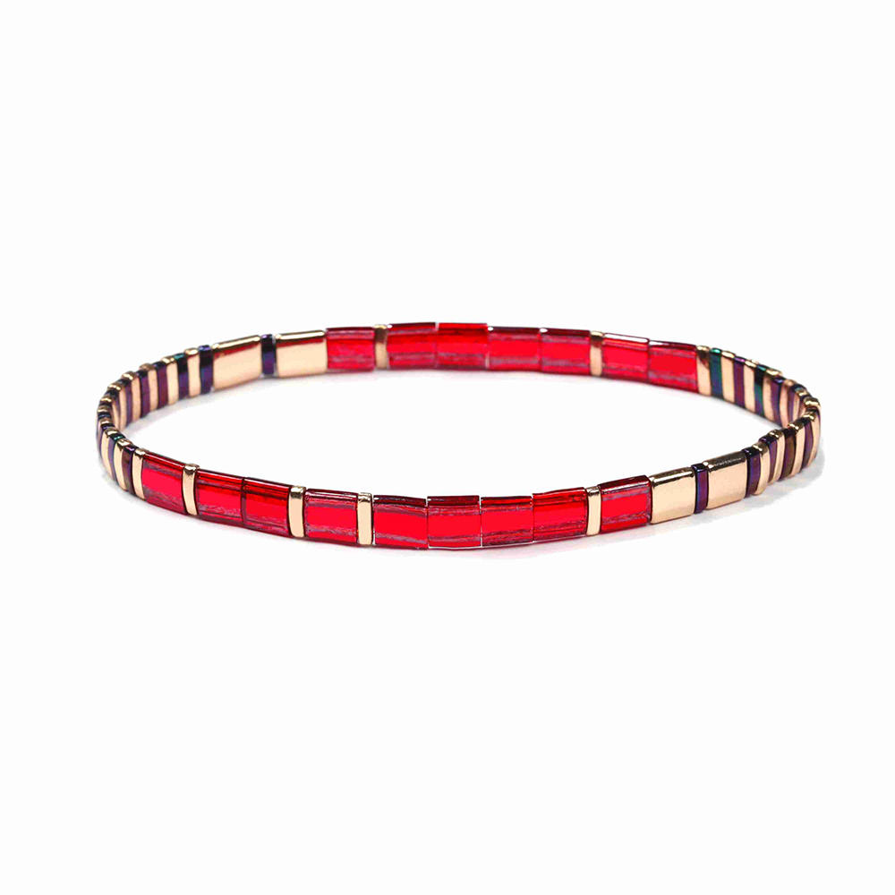 Fashion Wholesale Handmade Translucent Bright Red and Gold Color Japanese Miyuki Tila Bead Bracelet