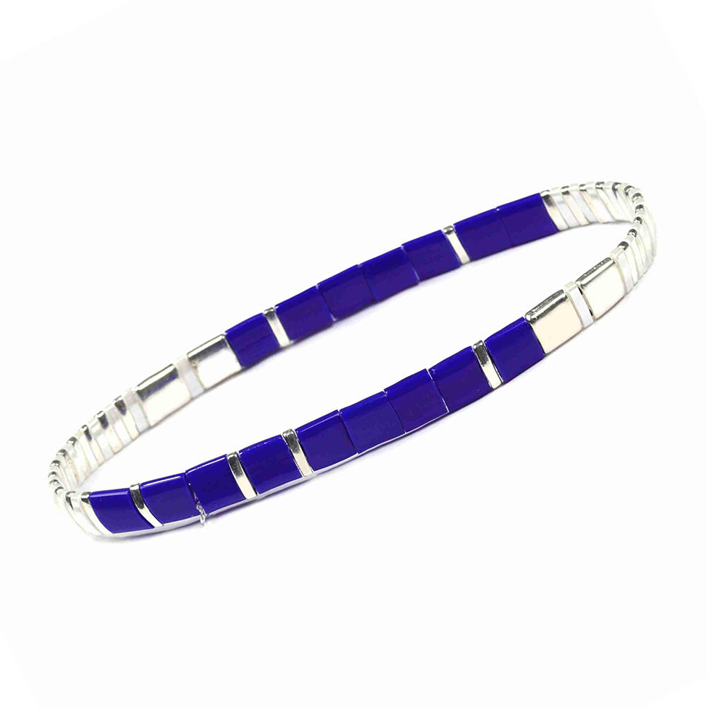 Fresh Friendship Handmade Wholesale Women Jewelry Translucent Blue and Silver Color Miyuki Tila Bead Bracelet