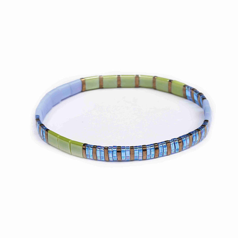 High Quality Stylish Handmade Women Jewelry Wholesale Translucent Grass green and Blue Color Miyuki Tila Bracelet