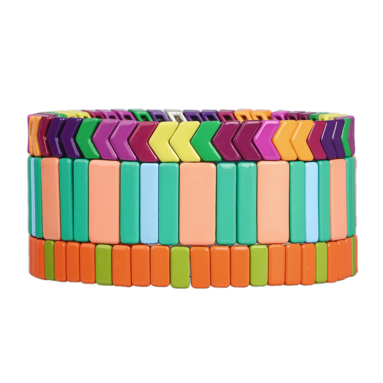 orange colorful latest trend smooth surface handmade tile braclet women jewelry