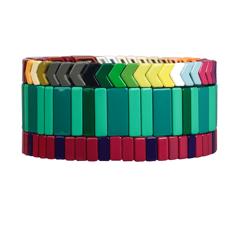 costomized smooth surface bight green grass and red color tile enamel bracelet wholesale women jewerly