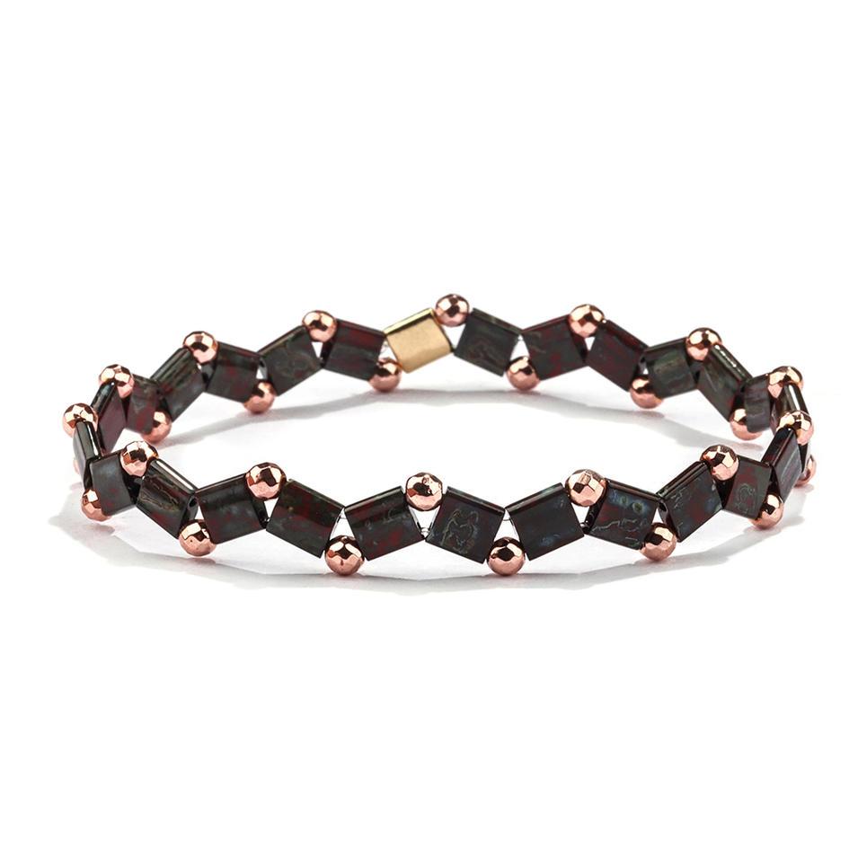 Latest Design Wholesale Women Jewelry Handmade Frosted Black gallstone Bead Tila Bracelet