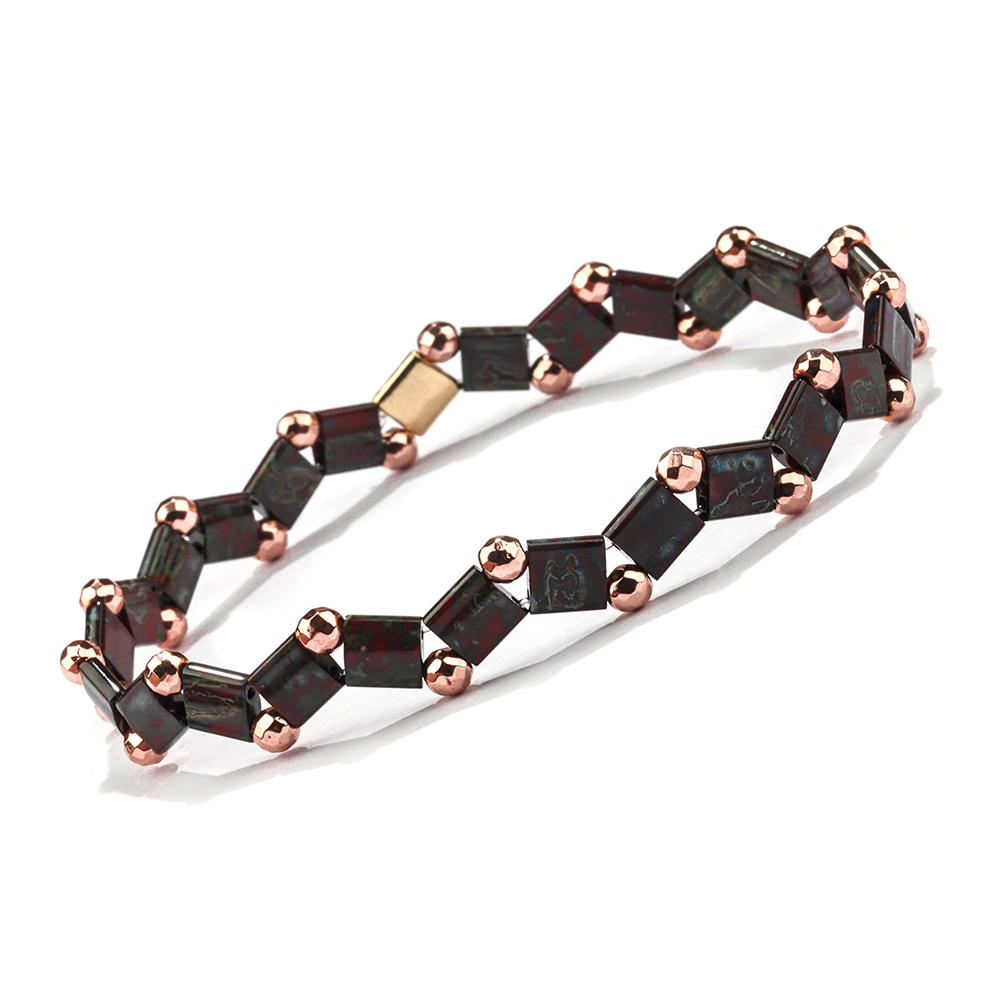 Latest Design Wholesale Women Jewelry Handmade Frosted Black gallstone Bead Tila Bracelet