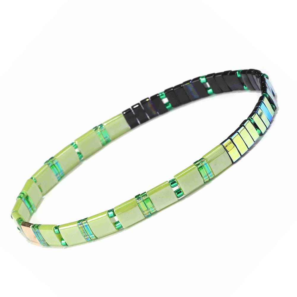 Vogue Fresh Handmade Grass Color Tila Dazzle Blue Wholesale Bracelet Women Jewelry