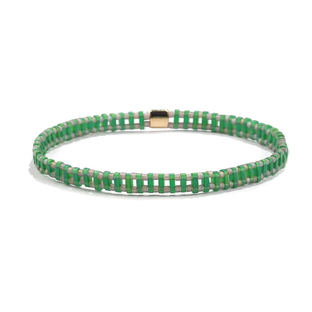 Sprig Trendy Handmade Translucent Green Color Tila Gray Bead Bracelet Wholesale Women Jewelry