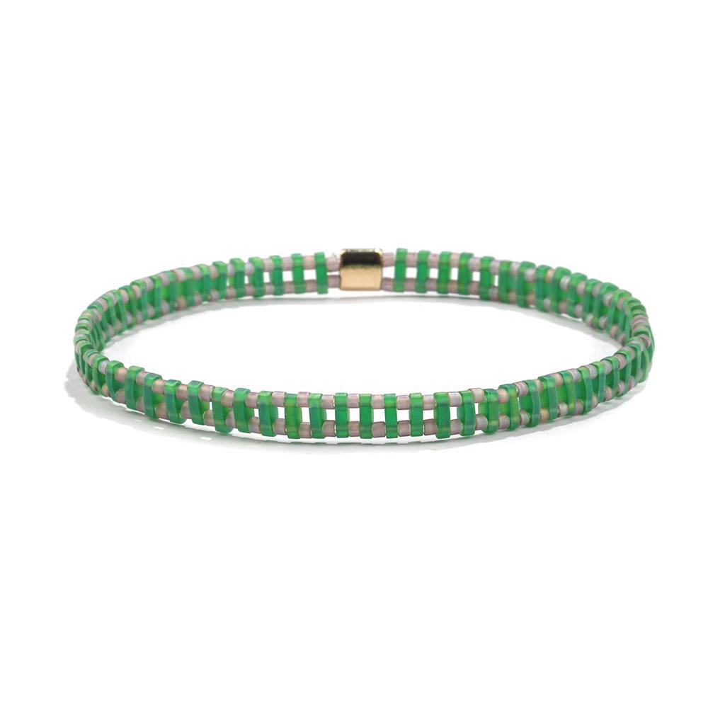 Sprig Trendy Handmade Translucent Green Color Tila Gray Bead Bracelet Wholesale Women Jewelry