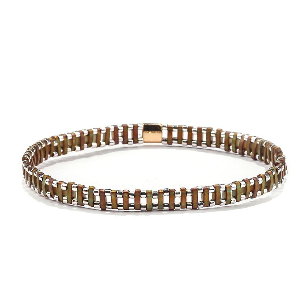 Dark Style Wholesale Women Jewelry Handmade Translucent Brown Tila Silvery Color Bead Bracelet