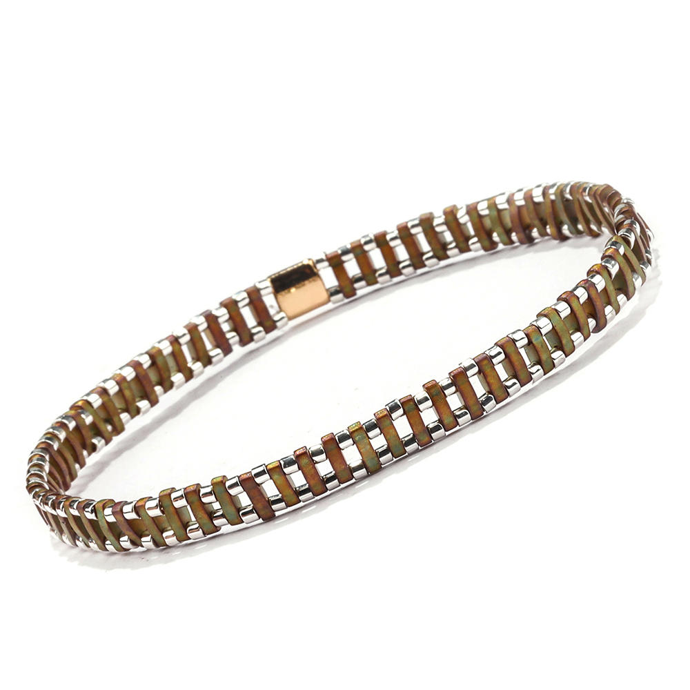 Dark Style Wholesale Women Jewelry Handmade Translucent Brown Tila Silvery Color Bead Bracelet