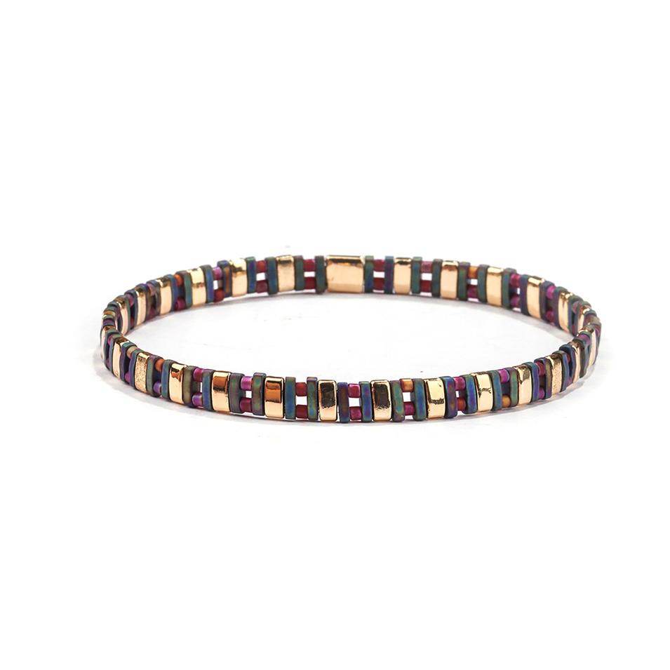 Gold and Dazzle Blue Color Tila AB Color Mix Bead Handmade Bracele Women Jewelry