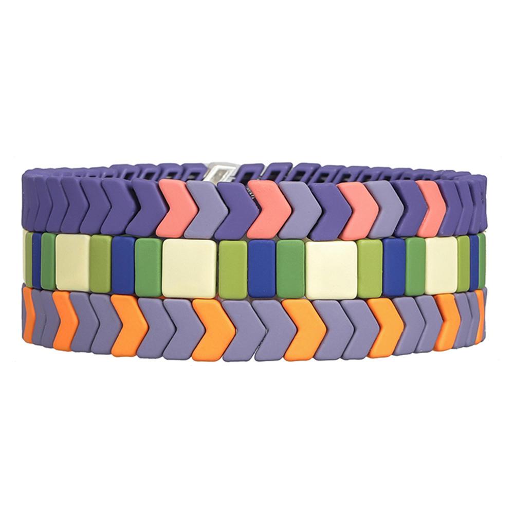 3Pcs Hot Selling Handmade Purple Violet Matte Enamel Bracelet Wholesale Women Jewelry