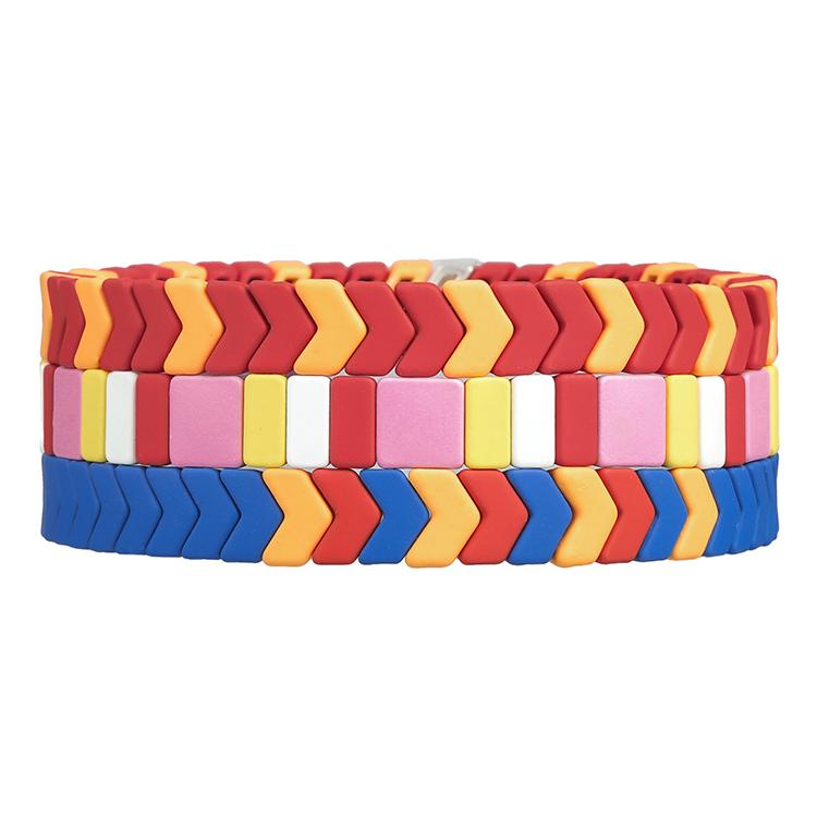 friendship smooth surface handmade tile enamel bracelet