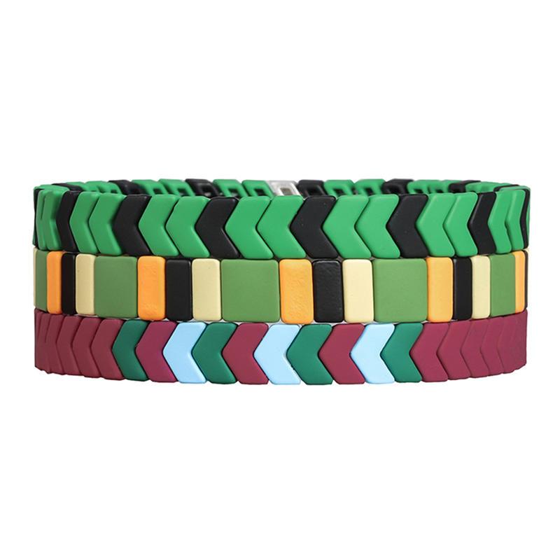 Latest Trendy Bright Red Green Matte Handmade Enamel Bracelet Wholesale Women Jewelry
