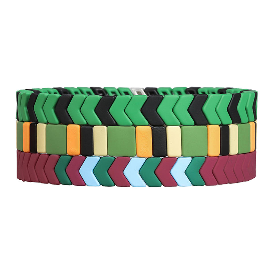 Latest Trendy Bright Red Green Matte Handmade Enamel Bracelet Wholesale Women Jewelry