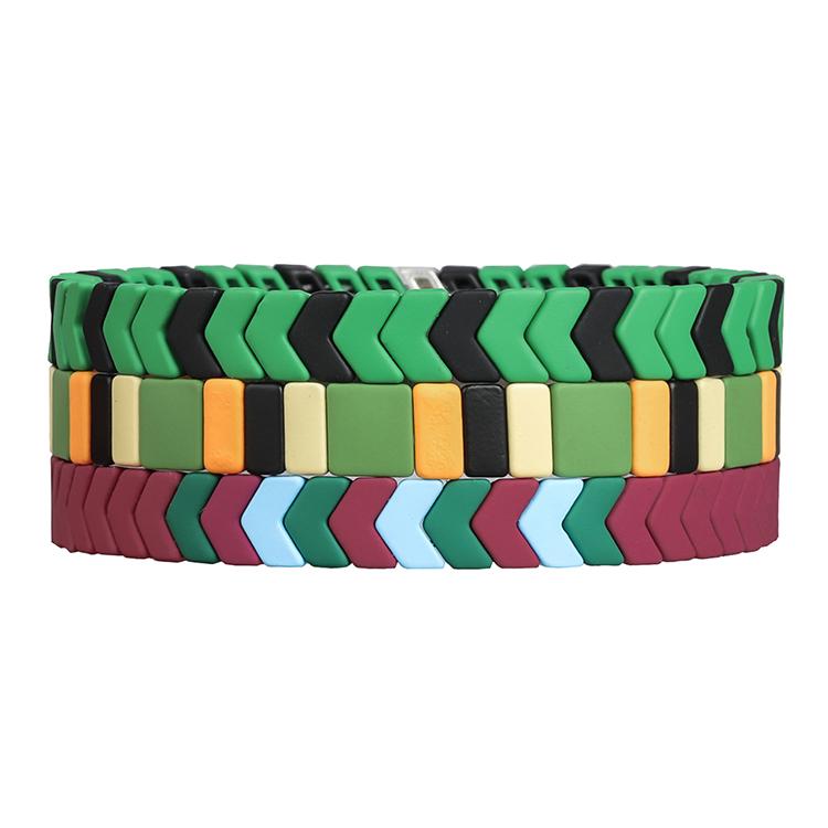bright red and green color matte handmade tile enamel bracelet