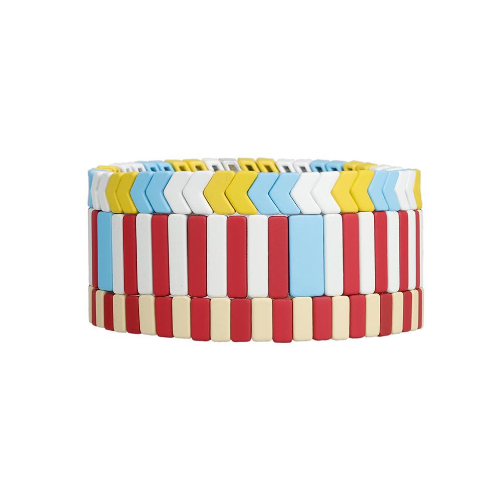 Fresh Poplar Handmade 3Pcs Red Yellow and Sky blue Color Matte Enamel Bracelet Wholesale Women Jewelry
