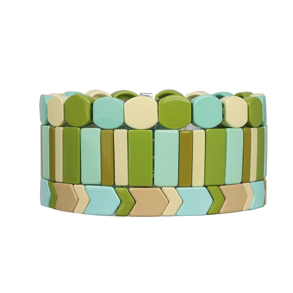 Latest Design Wholesale Womn Jewelry Handmade Beige Gress Sky blue Smoothly Enamel Bracele