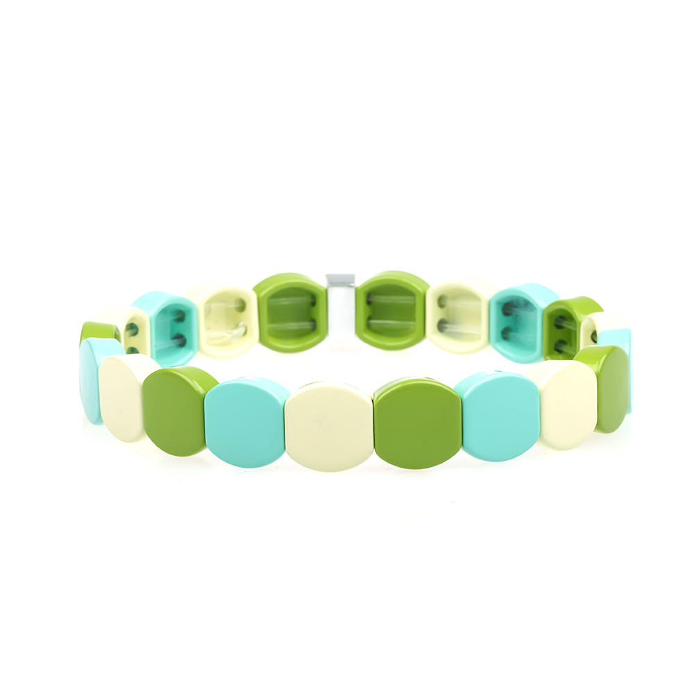 Latest Design Wholesale Womn Jewelry Handmade Beige Gress Sky blue Smoothly Enamel Bracele