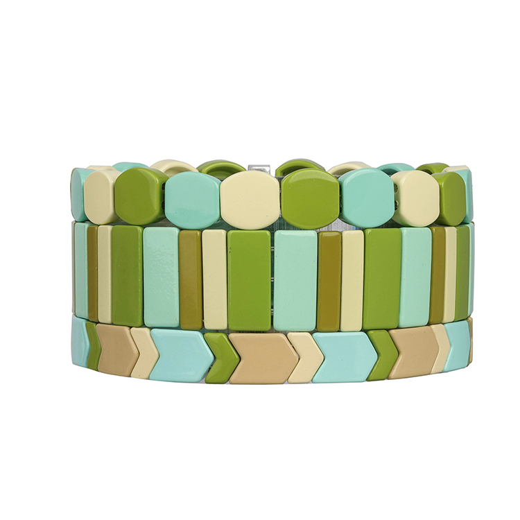 smoothly sky blue beige and grass color new stylish fresh friendship enamel bracelet