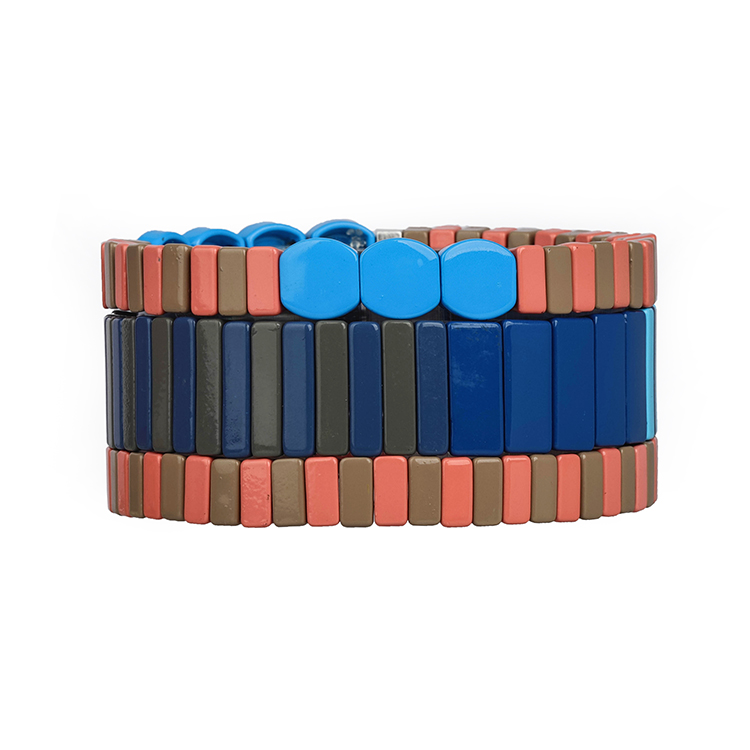sky blue brown navy color matte handmade tile bracelet