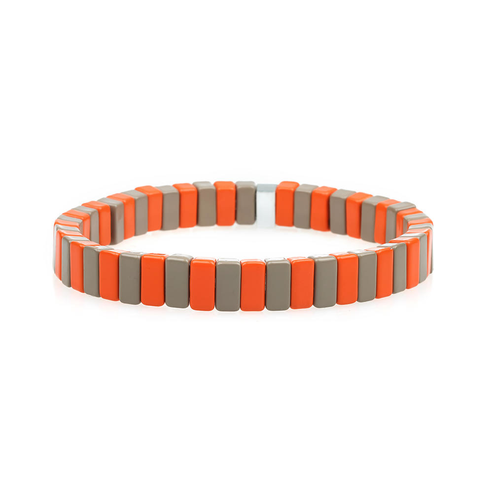 Bright Orange Color Smooth Handmade Fashion 3Pcs Enamel Bracelet Wholesale Women Jewelry
