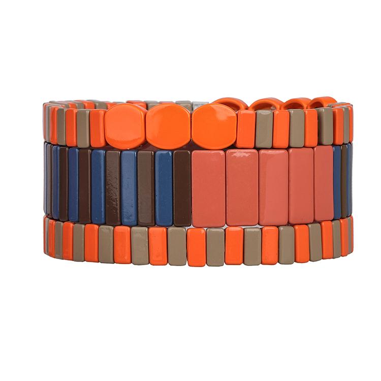 orange gray navy and black color pure handmade matte tile enamel bracelet