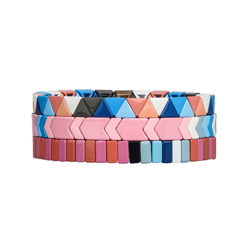 Sky Blue Light Pink Fresh triangular Square Handmade Wholesale tile Enamel Bracelet Women Jewelry