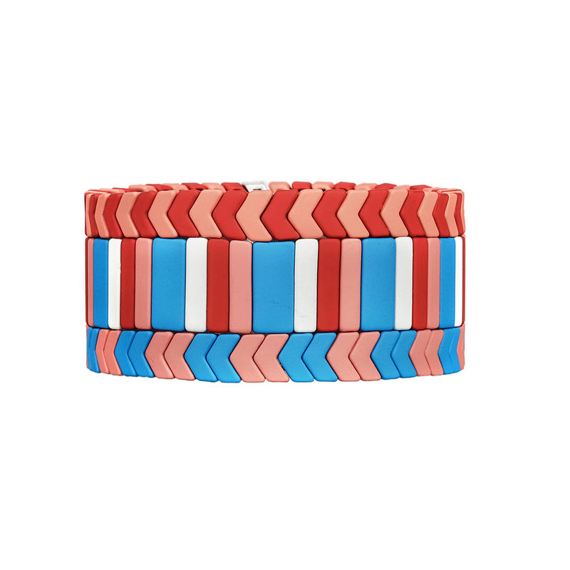 Stylish Customize Red pink sky blue Color Matte Handmade Enamel Bracelet Women Jewelry