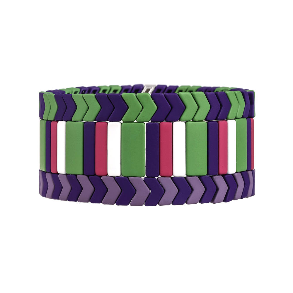 Wholesale Women Jewelry purple and green color Matte Enamel Handmade Bracelet
