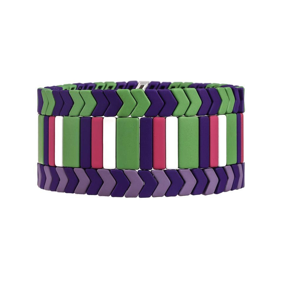 Wholesale Women Jewelry purple and green color Matte Enamel Handmade Bracelet