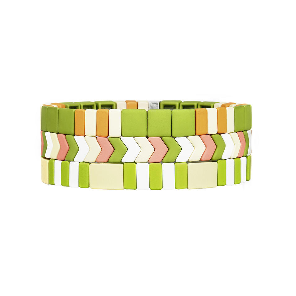 Friendship Fresh Grass color Stackable 3 Pcs Handmade Tile Enamel Bracelet Wholesale Women Jewelry