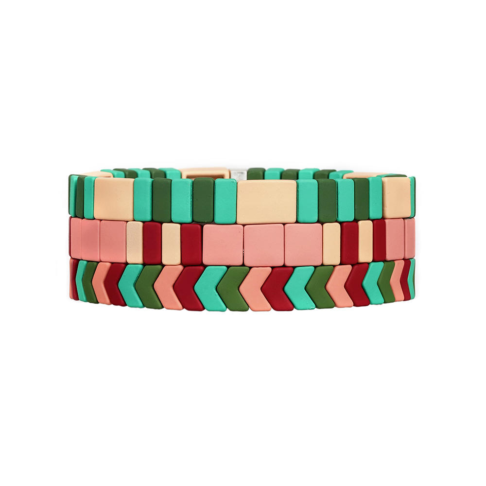 Personalizd Pink and Green Color Mixed Handmade 3Pcs Tile Enamel Bracelet Women Jewelry
