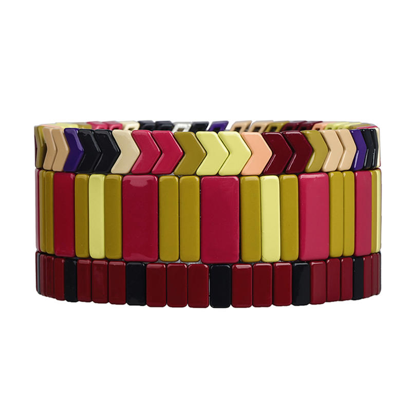 Simple Fashion Bright Color Handmade Women Jewelry Smoothly Tile Enamel Bracelet