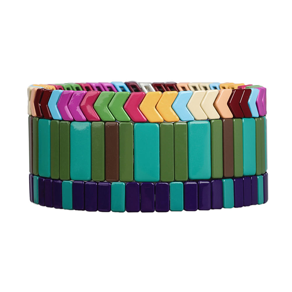 New Trendy 3Pcs full style Colorful Smoothly Handmade Enamel Bracelet Wholesale Women Jewelry
